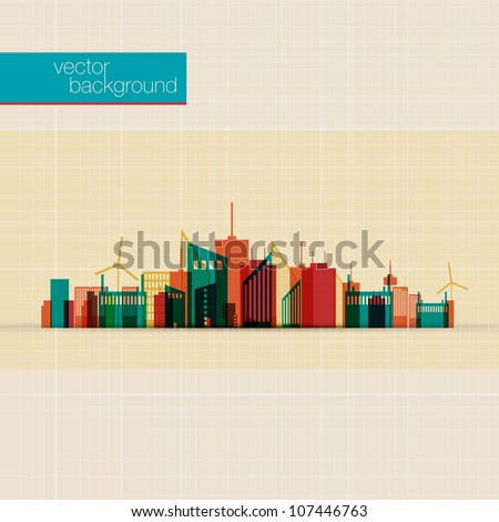 Colorful City Background - stock vector