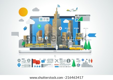 colorful city background with info graphic elements - stock vector