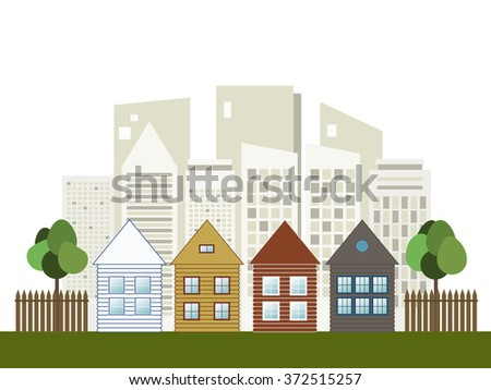 Colorful City, Houses For Sale / Rent. Real Estate - stock vector