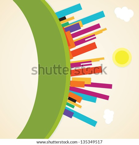 Colorful City icons ( concepts and elements) Vector illustration - stock vector