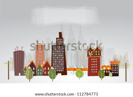 colorful city made of paper stickers - stock vector