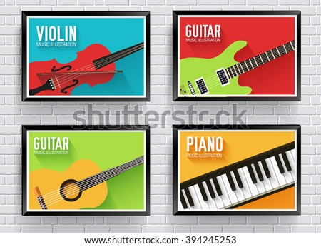 Colorful classical musical instruments background. Music instruments flat icons - stock vector
