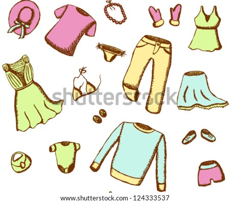 Colorful clothes seamless pattern - stock vector