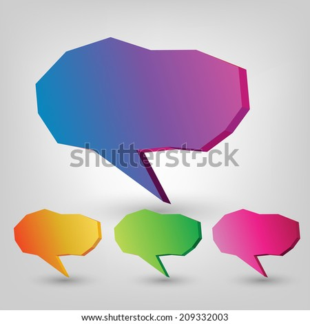 colorful cloud for comic posts. set - stock vector