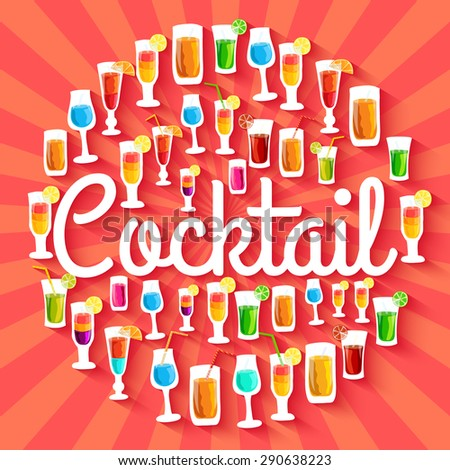 Colorful cocktail drink circle infographics template concept. Icons for your product or design, web and mobile applications. Vector flat with long shadow illustration on blue background - stock vector