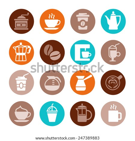 Colorful coffee icon set on white. Vector illustration - stock vector