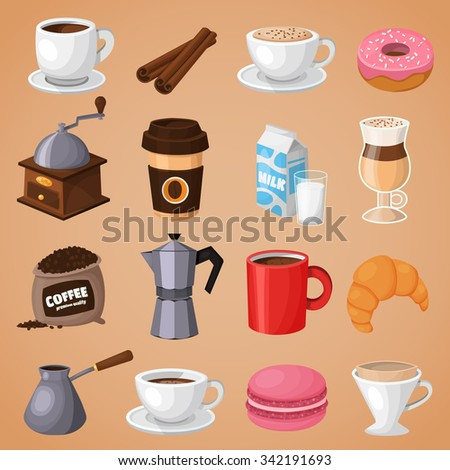 Colorful coffee vector icons set. Modern icons for coffee shop and  coffee house.  Colorful template for cooking and restaurant menu. - stock vector