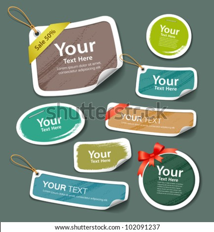 Colorful collection label and tag paper paint brush texture. vector illustration - stock vector