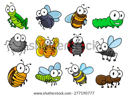 Colorful collection of vector cartoon bugs and insects with caterpillars, ladybug, butterfly, grasshopper, fly, spider, bee, hornet, wasp and ant - stock vector