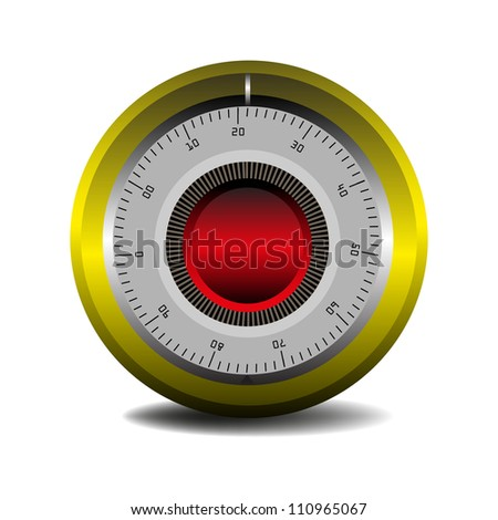 Colorful combination lock isolated on a white background - stock vector
