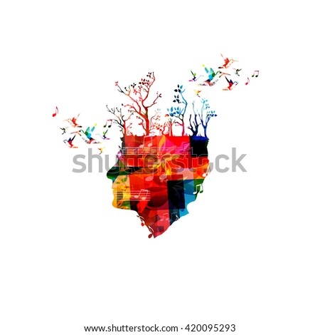 Colorful composer head with trees and hummingbirds - stock vector
