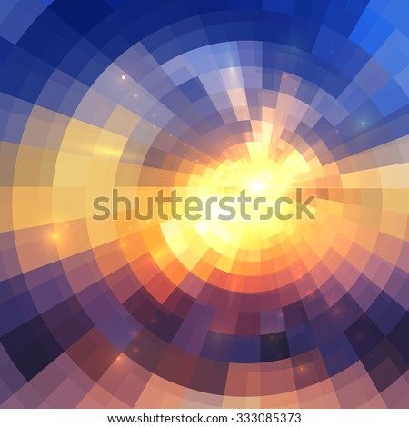 Colorful concentric shining mosaic vector abstract background - stock vector