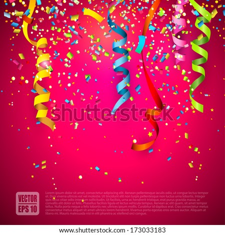 Colorful confetti on red background - stock vector