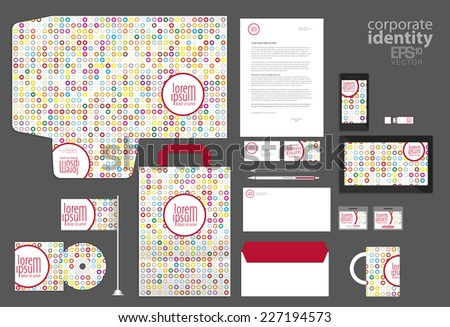 Colorful corporate identity template design with small dots/circles. Vector company style. - stock vector