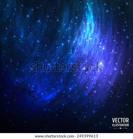 Colorful Cosmic Space Galaxy Background with Light, Shining Stars, Stardust and Nebula. Vector Illustration for artwork, party flyers, posters, banners. - stock vector