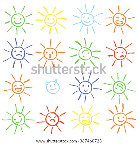 Colorful crayon chalk funny sun with smile. Colorful pastel chalk hand drawn set of happy, glad, happy, angry, sad, faces suns. Many cute suns. - stock vector