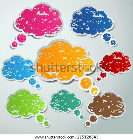 colorful crayon speech bubble set. text box. - stock vector