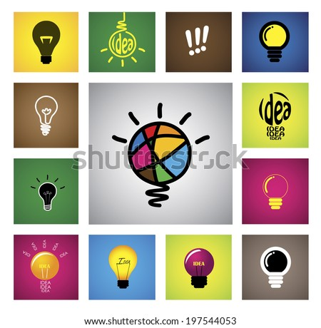 colorful creative idea bulb icons & symbols - concept vector graphic. This illustration also represents creative thinking, inventive mind, smart strategy, innovation, problem solving, etc - stock vector