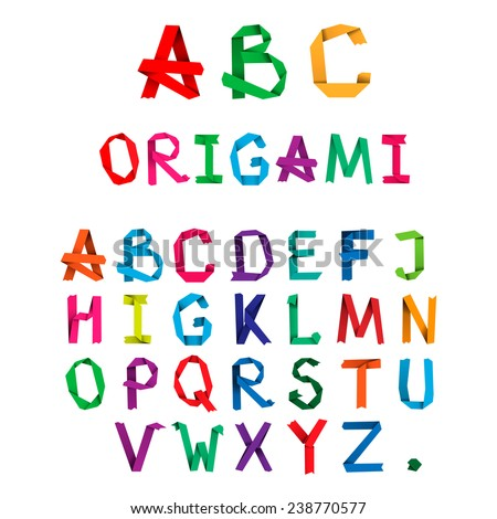 Colorful creative origami alphabet letters. Vector - stock vector