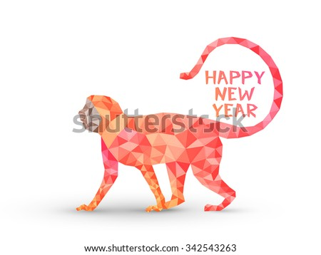 Colorful creative origami Monkey on white background for Chinese New Year 2016 celebration. - stock vector