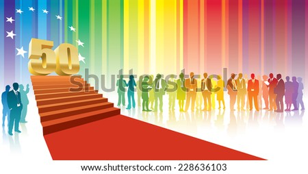 Colorful crowd of businesspeople celebrating fiftieth anniversary - stock vector
