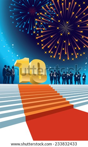 Colorful crowd of businesspeople celebrating tenth anniversary, fireworks in the background. - stock vector