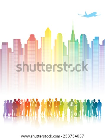 Colorful crowd of businesspeople standing in front of colorful buildings.  - stock vector
