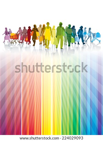 Colorful crowd of shopping people. Happy people holding shopping bags.  - stock vector