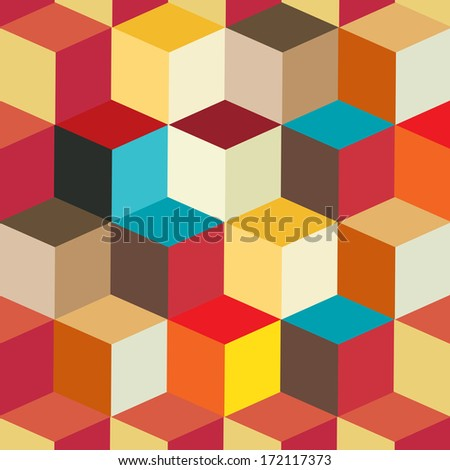 Colorful Cubes Seamless Pattern Background | EPS10 Vector Illustration - stock vector
