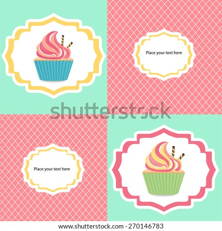 Colorful cupcake's invetation card eps10 vector illustration - stock vector