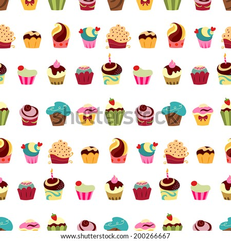 Colorful cupcakes seamless pattern - stock vector