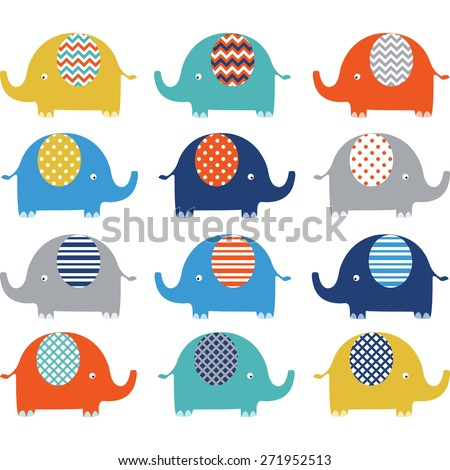 Colorful Cute  Elephant Collections - stock vector