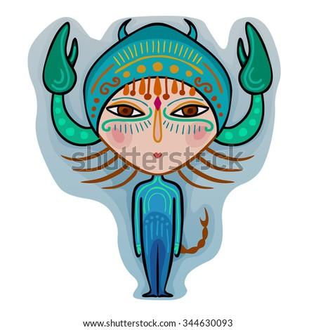 colorful cute original zodiac sign - scorpio - stock vector