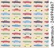 Colorful cute retro car pattern - stock vector