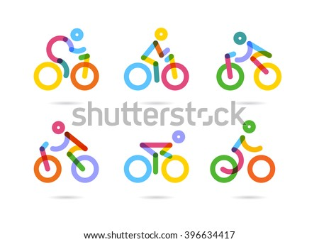 Colorful cycling and bicycles icons. vector illustration - stock vector