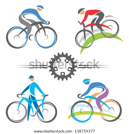 Colorful cycling and mountain biking icons. Vector illustrations. - stock vector