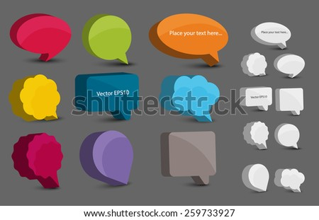 Colorful 3d bubble speech set. Vector eps10. - stock vector