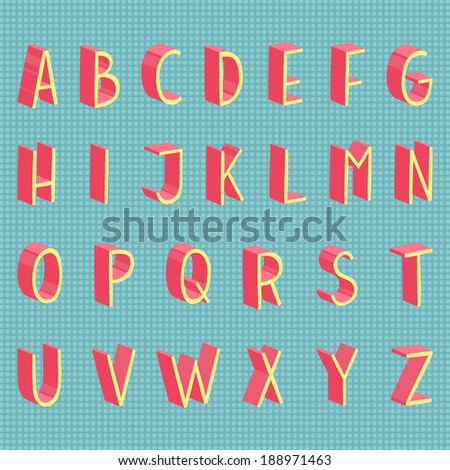 Colorful 3d hand drawn vector flat modern full alphabet. The vector Roman alphabet. With grey shadow.  - stock vector