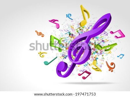 Colorful 3d music notes vector background - stock vector