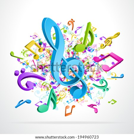 Colorful 3d music notes vector background eps 10  - stock vector