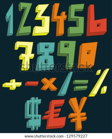Colorful 3d numbers, math and currency signs set - stock vector