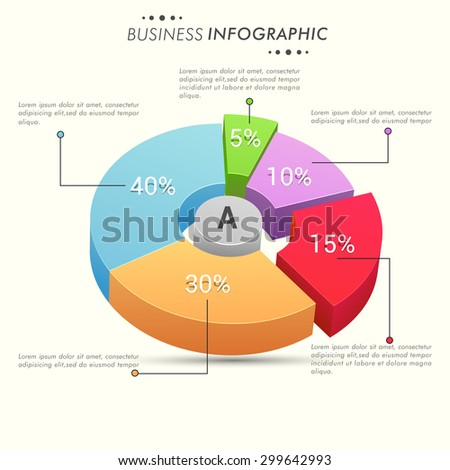 Colorful 3D pie chart with different percentage for your business repors and data presentation. - stock vector