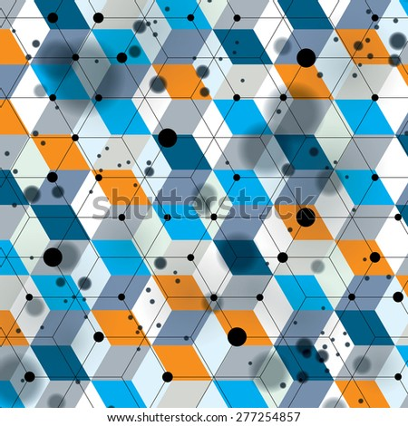 Colorful 3d spatial lattice covering, complicated op art background with geometric shapes, eps10. Science and technology theme. Abstract network, lace backdrop with motion effect. - stock vector