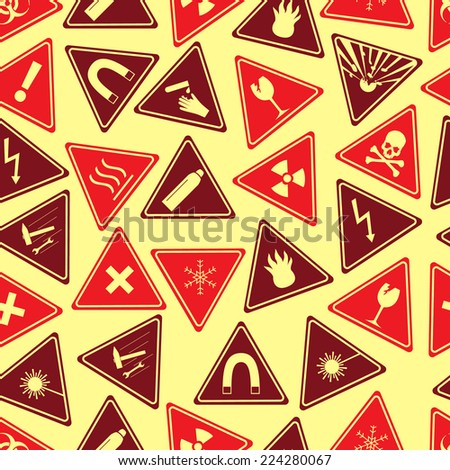 colorful danger signs types seamless pattern eps10 - stock vector