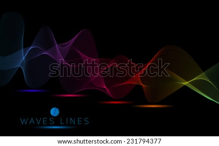 colorful dark wave line bright abstract pattern light illustration vector eps10 - stock vector