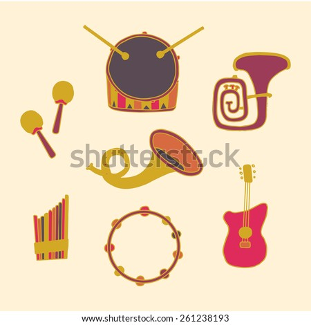 Colorful decorative card with  musical instruments. Hand draw style. Vector eps 10 - stock vector