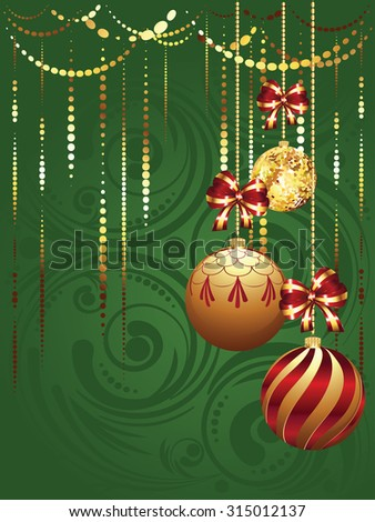 Colorful decorative Christmas glass balls, holiday ornaments. - stock vector