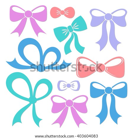 Colorful decorative vector bows isolated on white background - stock vector