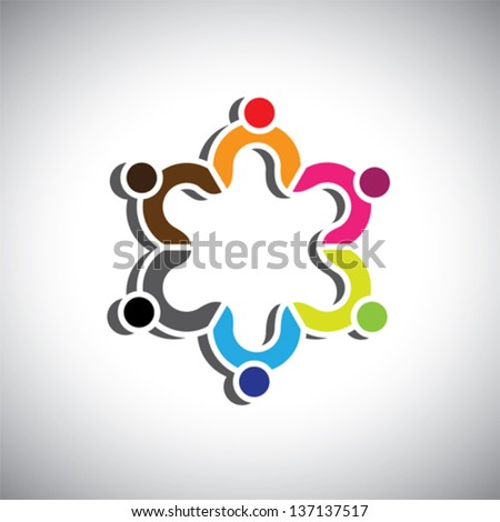Colorful design of a group of people or children symbols. This vector graphic can represent group of kids together or executives in meeting, unity among people, etc. - stock vector