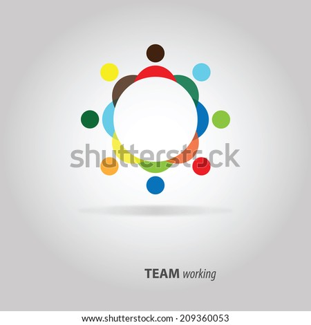 Colorful design of people symbols working as team - stock vector